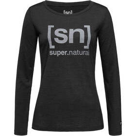 super.natural Essential I.D. LS Dam jet black melange/vapor grey logo